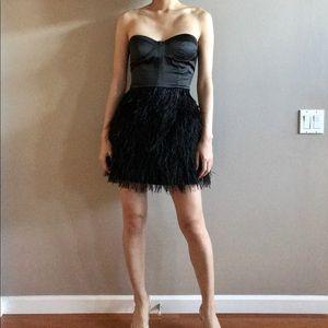 Vintage satin feather dress